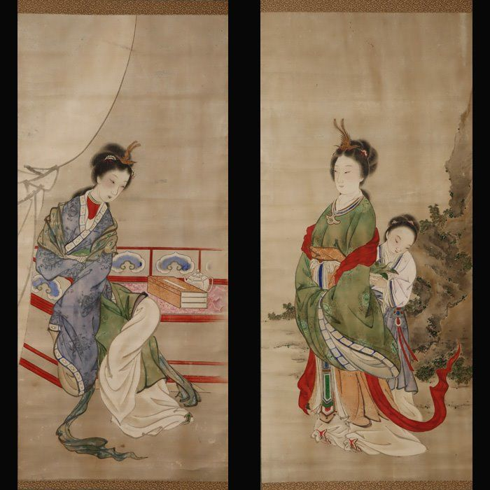 "Hanging scroll (2) - Big scroll - Paper - A pair of Chinese beauties. - ""A pair of Chinese beauties."" - Hayase Raizan(1808-1890) - Japan - Late Edo period"