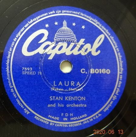 2 Complete Albums with total 24 78RPM Records. Album one filled with 12 x Stan Kenton Records. - Stan Kenton, June Christy, Louis Armstrong, Glenn Miller, Lionel Hampton, Ella Fitzgerald, - 78 rpm - Records shellac