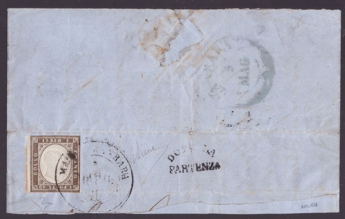 Anciens états italiens - Sardaigne 1859 - 10 cents sepia brown 4th issue with inverted effigy on letter cover - Sassone N. 14Ad, varietà