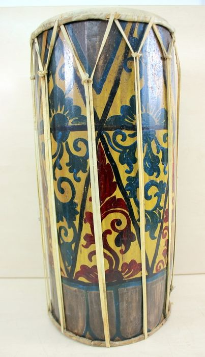 Painted drum - Leather, Wood - Bali, Indonesia