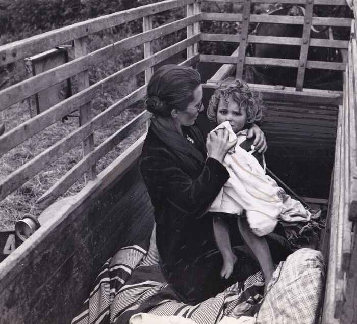 Navy Photograph - A French Mother & Child Travel to Safety by Wagon, Normandy, 1944