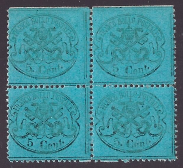 Italian Ancient States - Papal State 1868 - 5 cents dark azure, block of four with print variety - Sassone NN. 25d, 25d/h