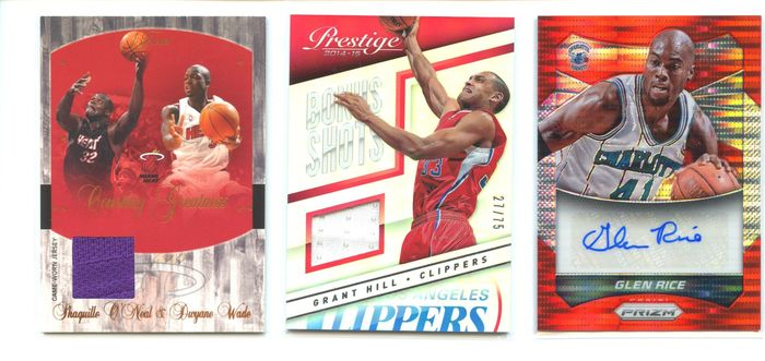 NBA Basketbal - Shaquille O'Neal - Grant Hill - Glen Rice - Jersey Memorabilia - Signed card