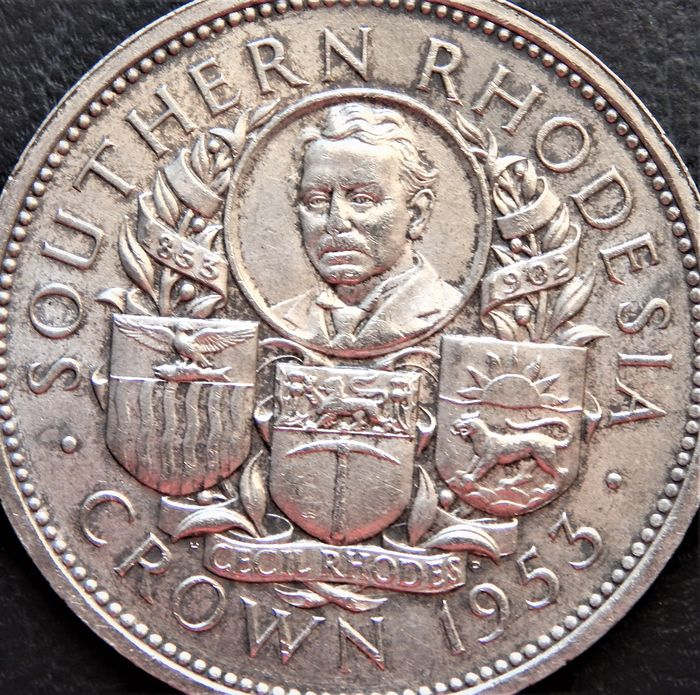 Rhodesia -  One Crown 1953 Elizabeth II - Birth of Cecil Rhodes Centennial - Silver