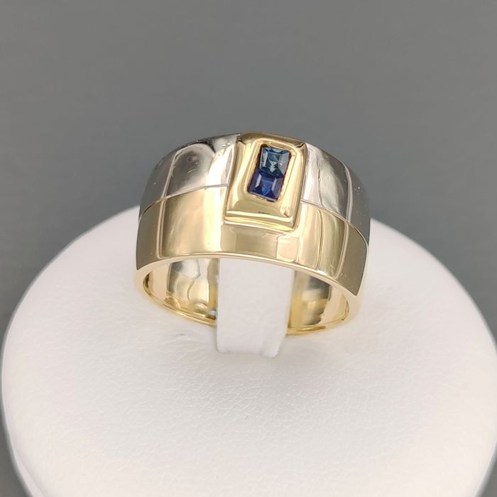 18 kt. White gold, Yellow gold - Ring - 0.40 ct Sapphire
