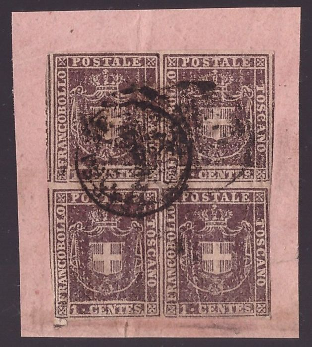 Italian Ancient States - Tuscany 1860 - 1 cent violet brown Provisional Government, block of four on fragment - Sassone N. 17