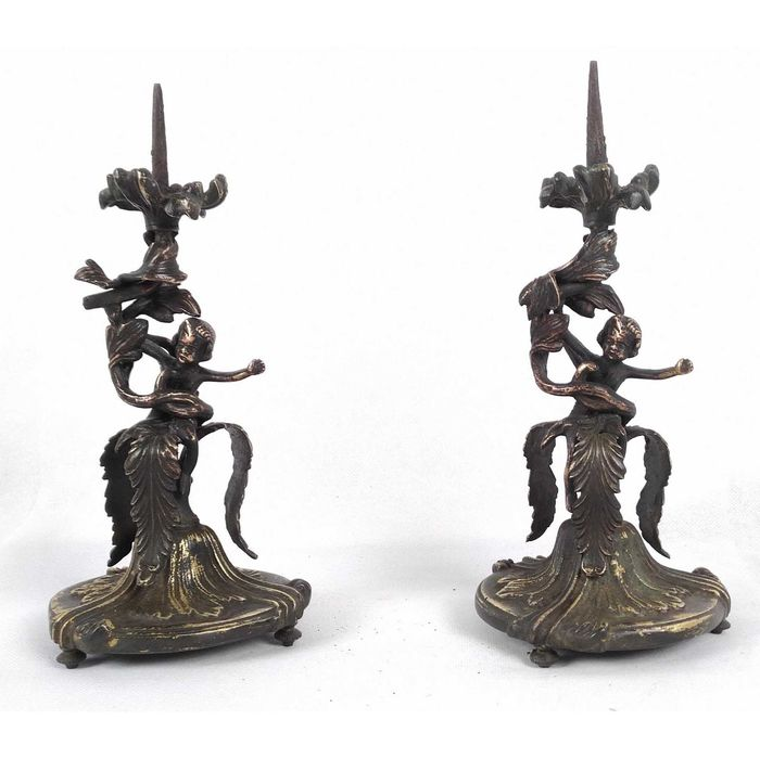 Candlestick, Pair of candlesticks (2) - Baroque style - Bronze (gilt) - Early 20th century