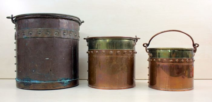 Three riveted buckets - Copper