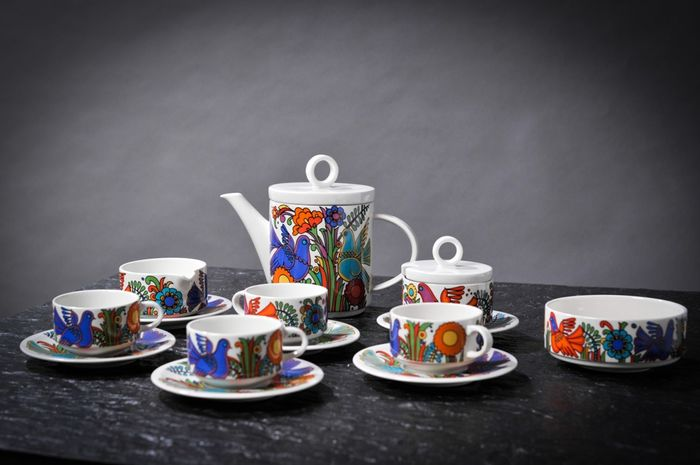Boch - Koffieservies voor 4 (8) - Abstract Expressionisme - Porselein