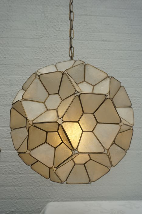 Vintage Ceiling lamp with Capiz shells, Walter Cole Brigham style - Modern