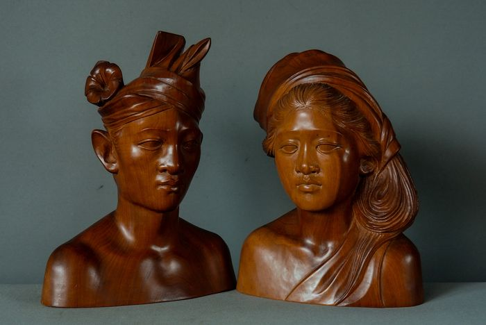 Bridal couple bust statues - signed A. Fatimah (2) - Hardwood - Bali, Indonesia