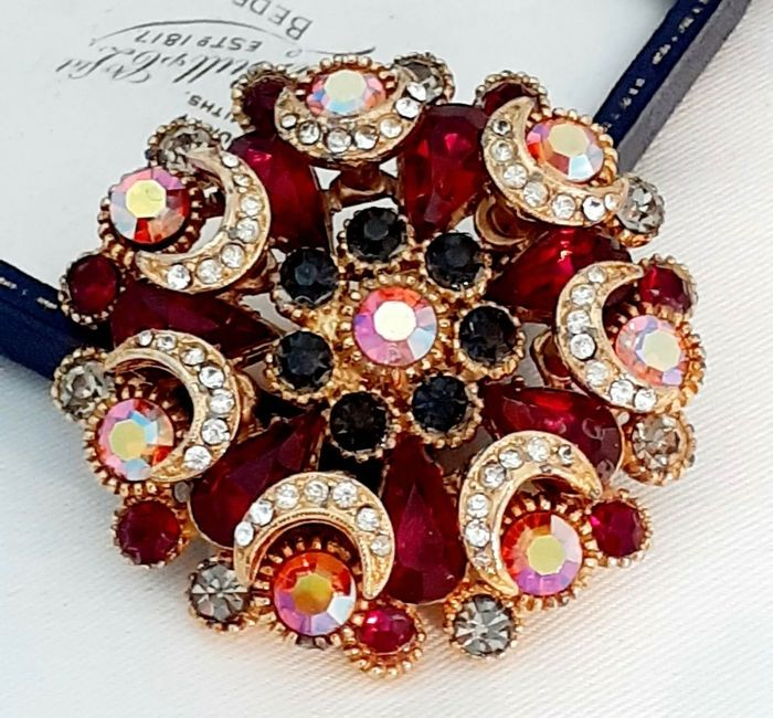 Gold-plated - Sphinx large layered rare colour crystal set brooch