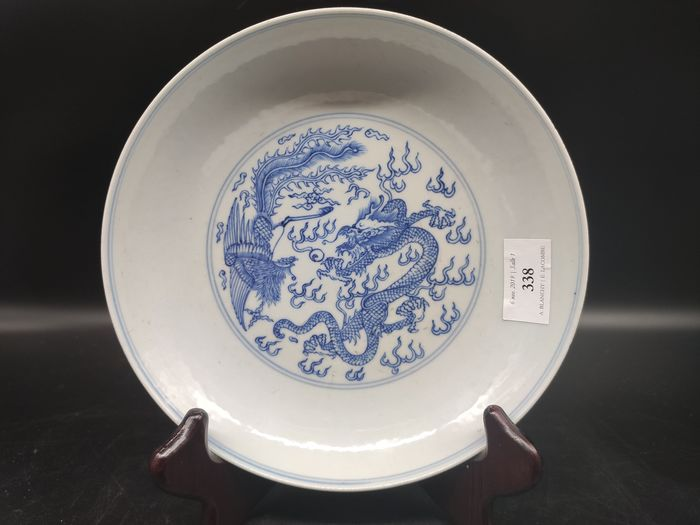Plate - Blue and white - Porcelain - Dragon, Phoenix - China - 21st century