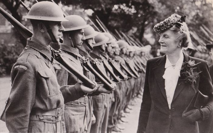 AP Wirephoto - Mrs. Churchill Inspects the Home Guard of the Port of London, 1941