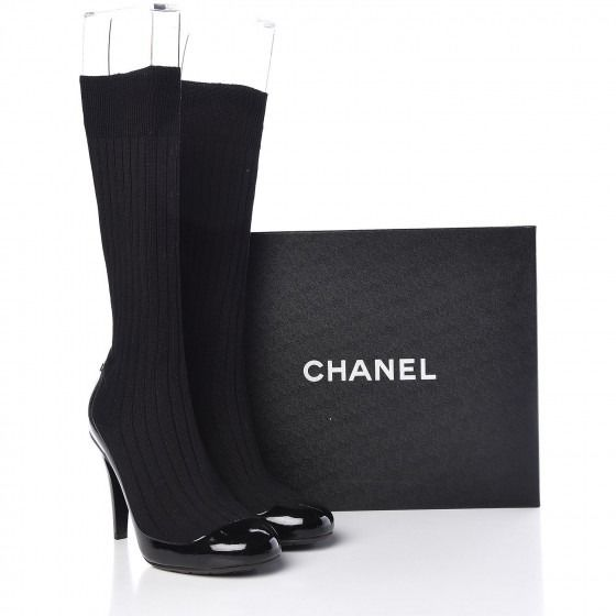 Chanel - Patent Knit Sock Boots 38 Black Knee high boots