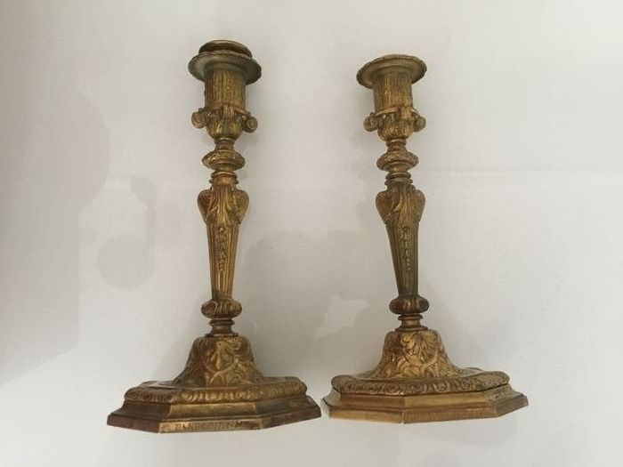 Candlestick, by Barbedienne (2) - Bronze - Late 19th century
