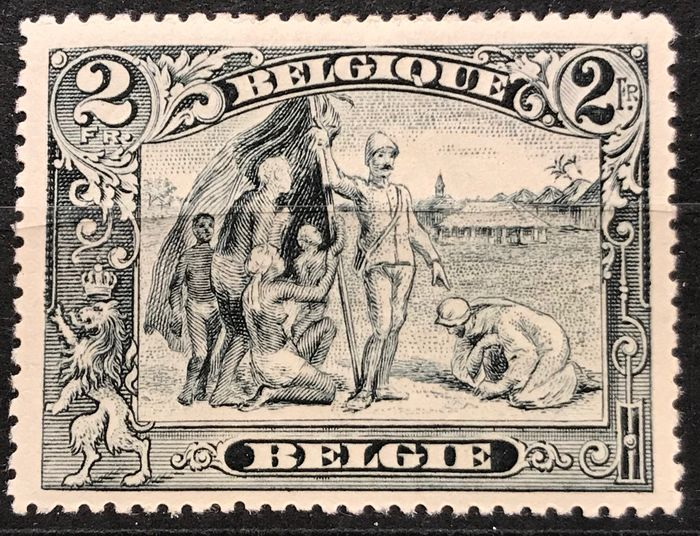 """Belgium 1915 - Issue Albert I and views - nuances Antwerp and Congo incl. """"White Negro"""" - MNH - OBP / COB 145a, 146a, 146b"""