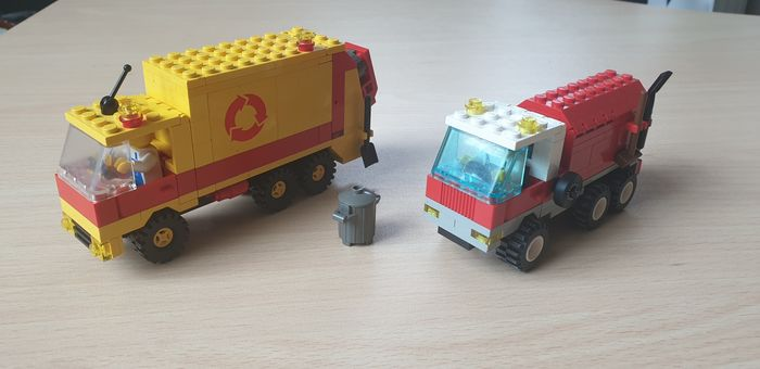 LEGO - Town - 6668-1 + 6693-1 - Lorry Recycle Truck + Refuse Collection Truck - 1980-1989 - Denmark