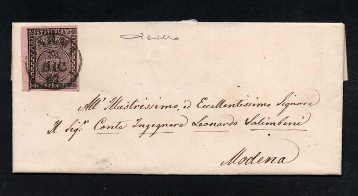 Italienische antike Staaten - Parma 1852/1855 - Two letters stamped with 25 cents 1st issue and 15 cents 2nd issue - Sassone NN. 4 & 7a