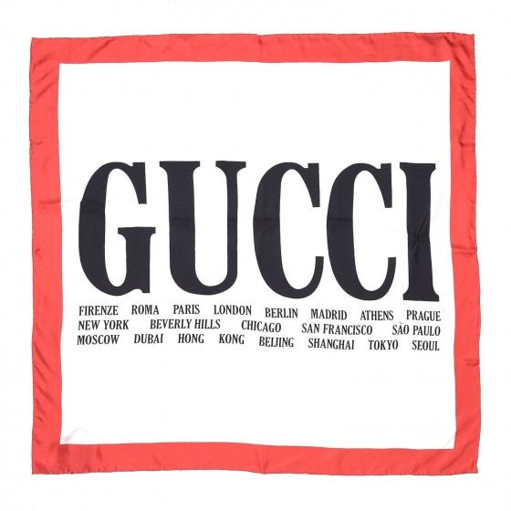 Gucci - Silk 80s Logo Square Scarf Black Red Scarf