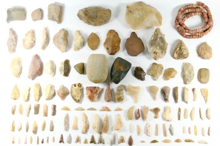 Prehistoric, Neolithic various large collection of great artifacts - (120)