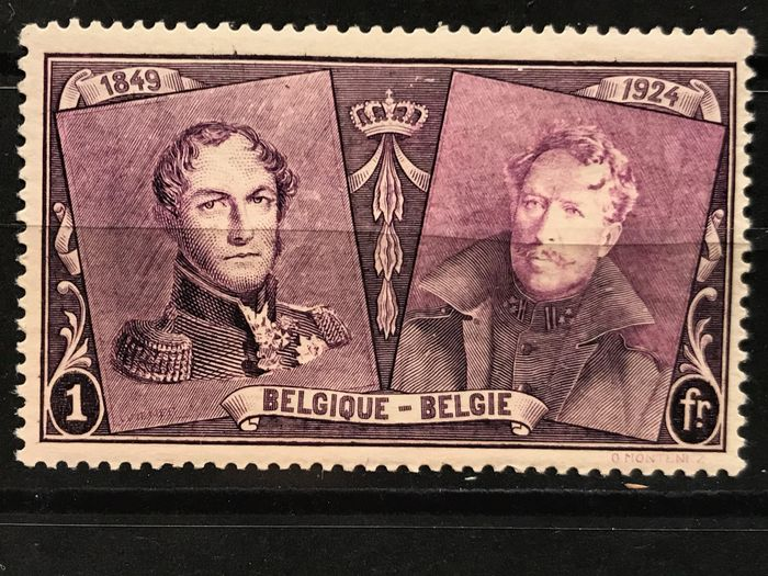 "Belgium 1925 - Issue 75th anniversary first stamp Belgium incl. Variety ""Curl on forehead""- MNH - OBP / COB 221-233 + 230-V"
