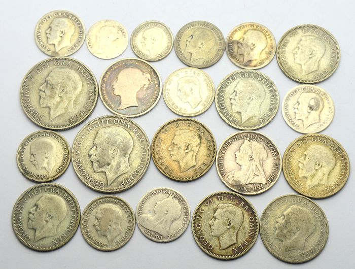 United Kingdom - Lot of 21 silver coins 1839/1943 - Silver