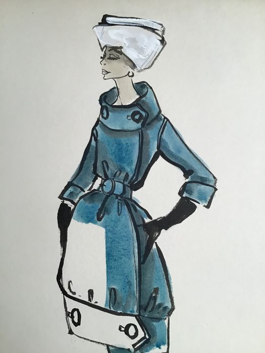 drawing, fashion sketch for Jacques Fath - Paper