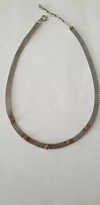 Antikes  - 835 Silver - Necklace Coral