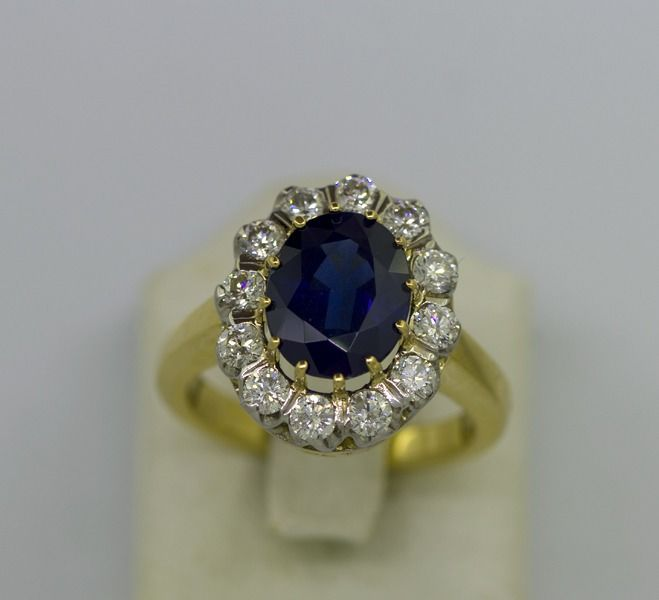 18 kt. Yellow gold - Ring - 0.84 ct Diamond - Sapphire