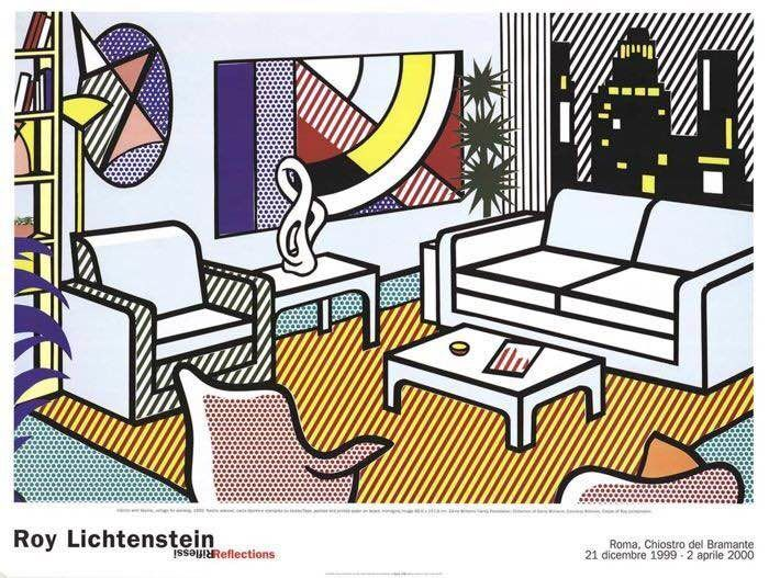 Roy Lichtenstein - Exhibition: Reflections/ Riflessi - Interior with Skyline - 1999 - Δεκαετία του 1990