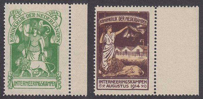 Netherlands 1916 - Internment camp stamps - NVPH IN1/IN2