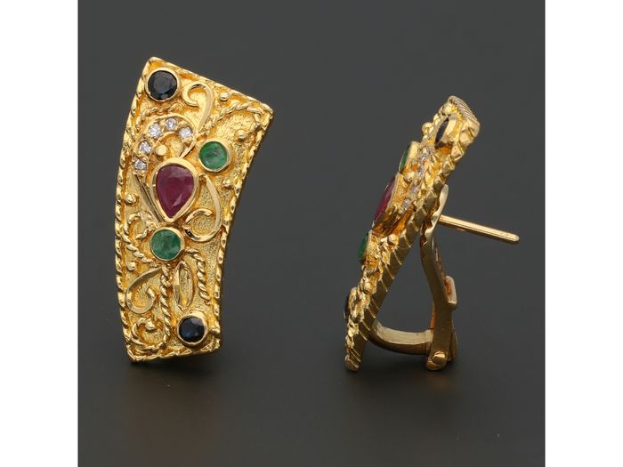 18 kt. Gold - Earrings Ruby, Sapphire, Emerald - Diamond