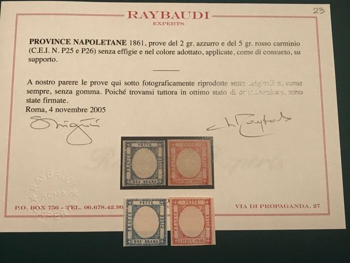 Italian Ancient States - Naples 1861 - 2 and 5 Grana test in the accepted colour senza effigie - CEI NN. P25/P26
