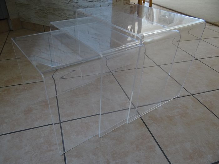 Vintage side table set in acrylic glass (3-piece)