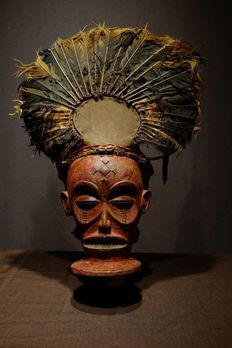 Mask - Wood - Chihongo Chilunga- NO RESERVE PRICE - Chokwe - Congo DRC