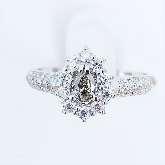 18 quilates Oro blanco - Anillo 0.16 ct Diamante - Diamante