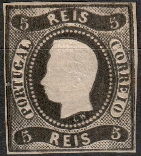 Portogallo 1866/1866 - Stamp D.Luis I Curved Ribbon Imperforated 5 Reis - Mundifil Nº 19