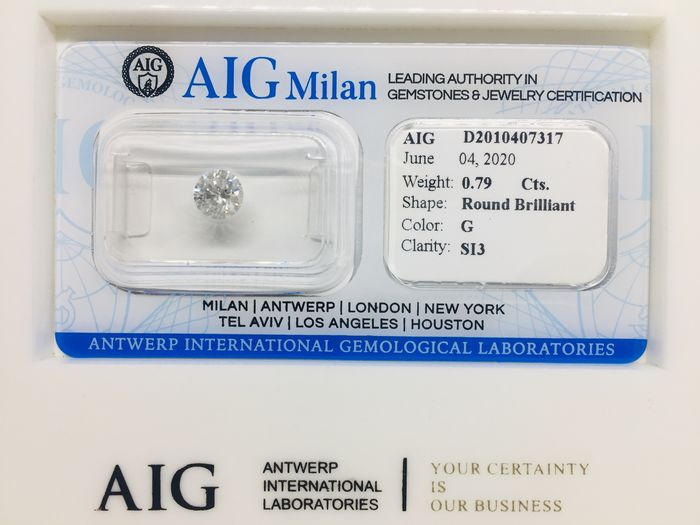 1 pcs Diamond - 0.79 ct - Brilliant, Round - G - SI3