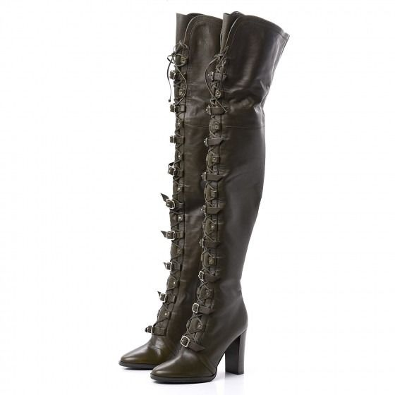 Jimmy Choo - Soft Grained Goatskin Maloy 95 Over The Knee Boots 36 Army Green Over-the-knee boots