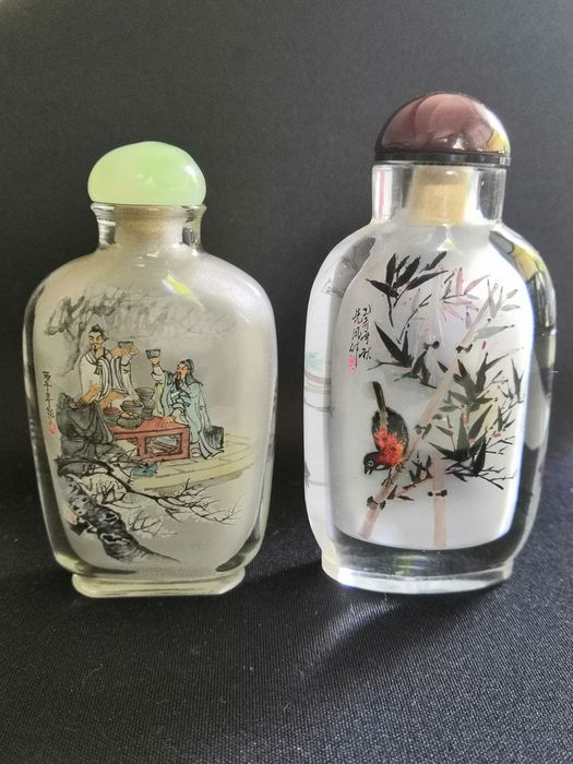 Snuff bottles with scholars, tigers and birds - 2