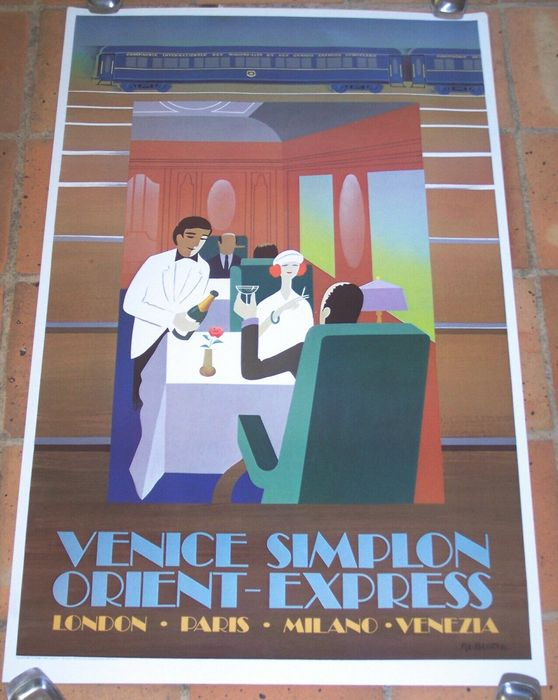"Pierre Fix-Masseau - Offset su Carta ""Venice Simplon Orient Express, London-Paris-Milano-Venezia"" - 1981"