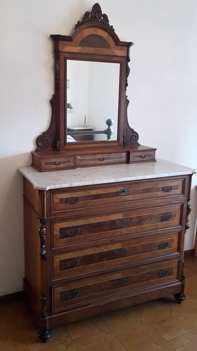 Cabinet, Commode, Cupboard, Wall mirror (4) - Marble, Wood - Mid 19th century