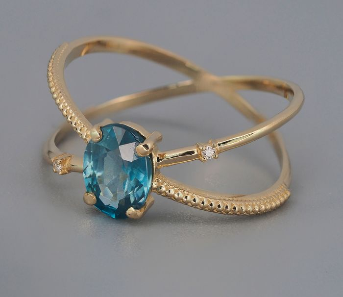 14 kt. Yellow gold - Ring Sapphire - Diamonds