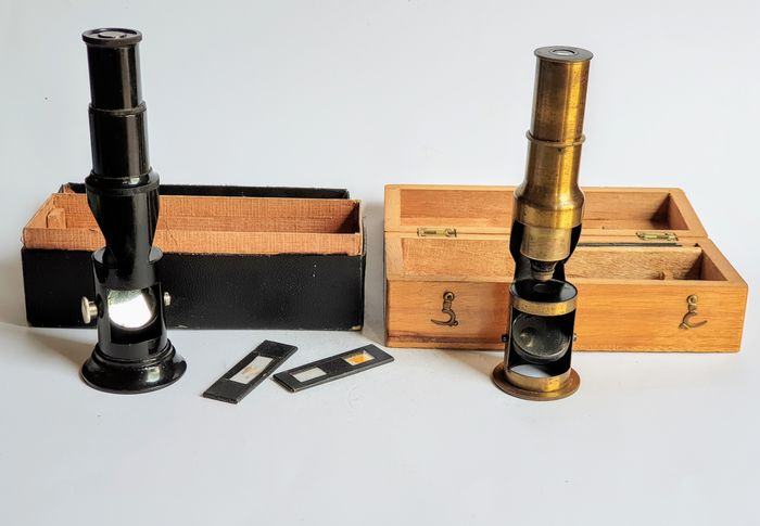 2 Pocket/field microscope,s in wooden box