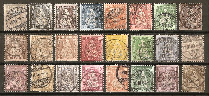 Switzerland 1862/1881 - Seated Helvetia, white and mixed papers - Zumstein 28-52 / Michel 20-44
