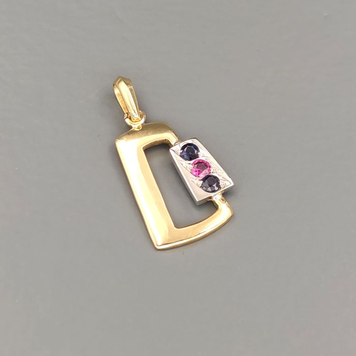 18 kt. White gold, Yellow gold - Pendant - 0.16 ct Sapphire - Ruby