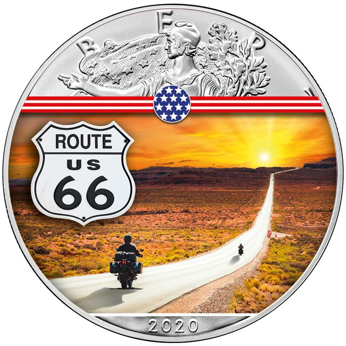 United States - 1 Dollar 2020 - Silver Eagle - Route 66 - 1 oz - Silver