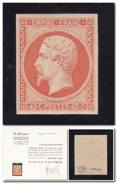Frankreich - Empire, imperforate, 40 centimes orange. - Yvert 16