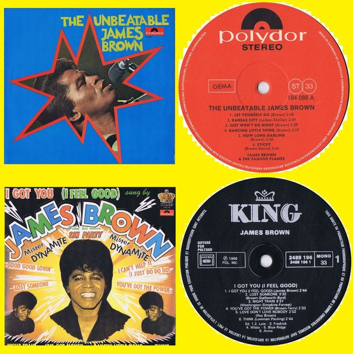James Brown - 1. I Got You (I Feel Good) 2. The Unbeatable James Brown  - Multiple titles - LP's - 1966/1967